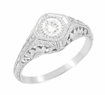 Art Deco 1/3 Carat Diamond Filigree Engagement Ring in 14 Karat White Gold