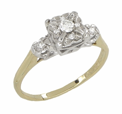 Art Deco Vintage Diamond Engagement Ring in 14 Karat White and Yellow Gold - Item R743 - Image 1