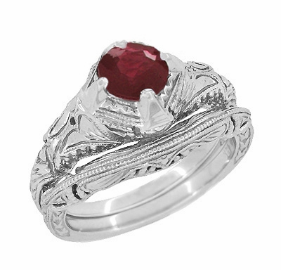 Art Deco Vintage Engraved Filigree Ruby Promise Ring in Sterling Silver  - Item SSR161R - Image 2