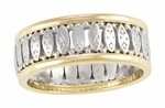 Art Deco Vintage Filigree Wedding Band in Two-Tone 14K White & Yellow Gold | Size 9