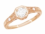 1930s Art Deco Rose Gold Low Profile Diamond Engagement Ring | Vintage 14K Pink Gold Design