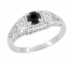 Art Deco Vintage Style Black Diamond Promise Ring in Sterling Silver