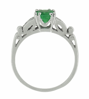 Art Deco Vintage Style Emerald and Diamonds Engagement Ring in 18 Karat White Gold - Item R700 - Image 2
