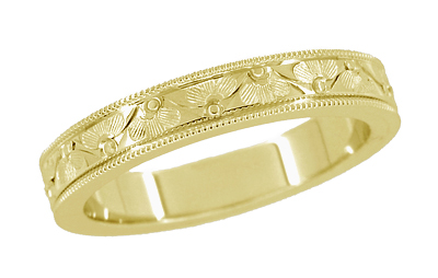 Art Deco Mens Vintage Style Engraved Floral Wedding Ring with Millgrain Edge in 14K Yellow Gold - 4mm Wide