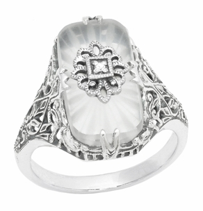 Art Deco Vintage Sun Ray Crystal and Diamond Filigree Cocktail Ring in Sterling Silver - Item SSR18C - Image 1