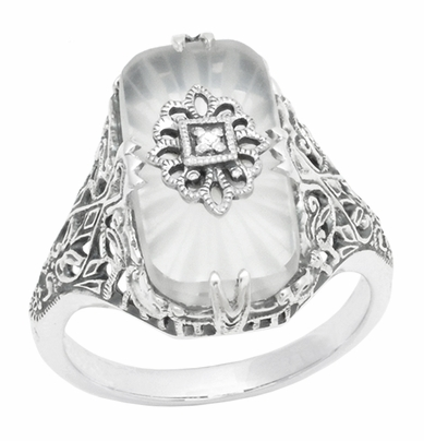Art Deco Vintage Filigree Sun Ray Crystal and Diamond Right Hand Cocktail Ring in Sterling Silver - Item SSR18C - Image 1