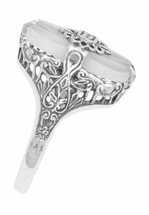 Art Deco Vintage Sun Ray Crystal and Diamond Filigree Cocktail Ring in Sterling Silver - Item SSR18C - Image 2