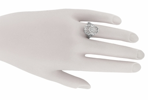Art Deco Vintage Sun Ray Crystal and Diamond Filigree Cocktail Ring in Sterling Silver - Click to enlarge