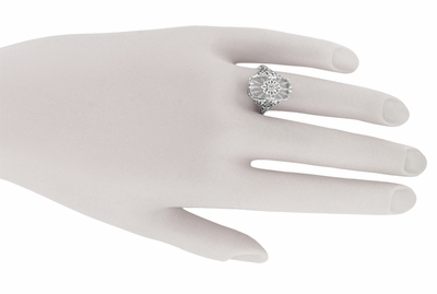 Art Deco Vintage Filigree Sun Ray Crystal and Diamond Right Hand Cocktail Ring in Sterling Silver - Item SSR18C - Image 4