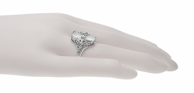 Art Deco Vintage Filigree Sun Ray Crystal and Diamond Right Hand Cocktail Ring in Sterling Silver - Item SSR18C - Image 5