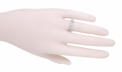 Art Deco Warran Antique Filigree Diamond Wedding Band in Platinum - Size 6  - Item R1074 - Image 1