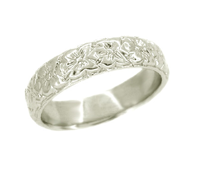 Art Deco Wedding Flowers Band in 14 Karat White Gold - Size 6