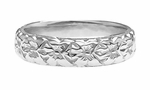 Art Deco Wedding Flowers Band in 18 Karat White Gold - Size 5.75