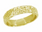 Art Deco Orange Blossom Flowers Wedding Band in 18 Karat Yellow Gold - Size 5.75