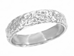 Art Deco Wedding Flowers Wide Band in Platinum | Size 6 | 4.7mm Wide