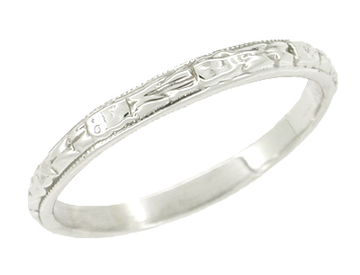 Art Deco Wedding Ring in 14 Karat White Gold