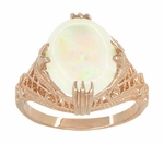 Art Deco White Opal Filigree Ring in 14 Karat Rose Gold