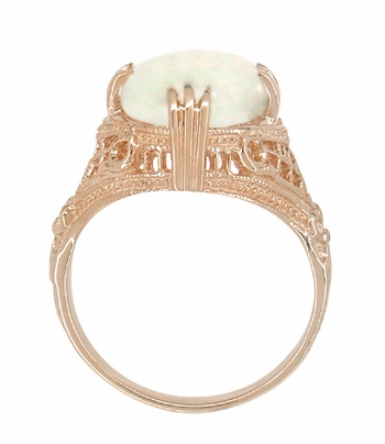 Art Deco White Opal Filigree Ring in 14 Karat Rose Gold - Item R157R - Image 1