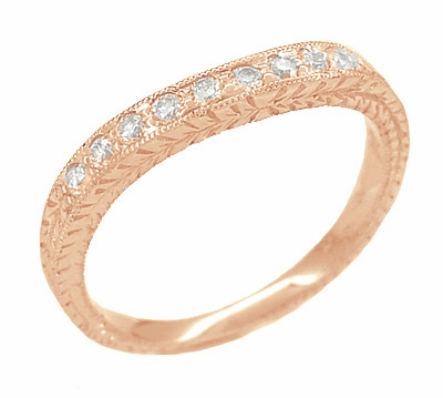 Art Deco White Sapphire Engraved Curved Wheat Engraved Wedding Band in 14 Karat Rose ( Pink ) Gold - Item R635RWS - Image 1