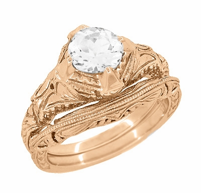 Art Deco White Sapphire Engraved Filigree Engagement Ring in 14 Karat Rose Gold - Item R161R75WS - Image 2