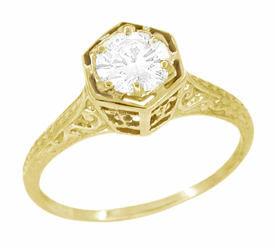 Art Deco White Sapphire Filigree Engagement Ring in 14 Karat Yellow Gold