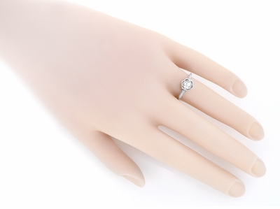 Art Deco White Sapphire Filigree Engagement Ring in 14K White Gold   Vintage Replica - Item R180W33WS - Image 2