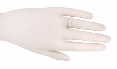 Art Deco White Sapphire Filigree Engraved Engagement Ring in 14 Karat Rose ( Pink ) Gold - Item R149RWS - Image 3