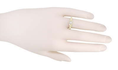 Art Deco White Sapphire Filigree Engraved Engagement Ring in 14 Karat Yellow Gold - Item R149YWS - Image 3