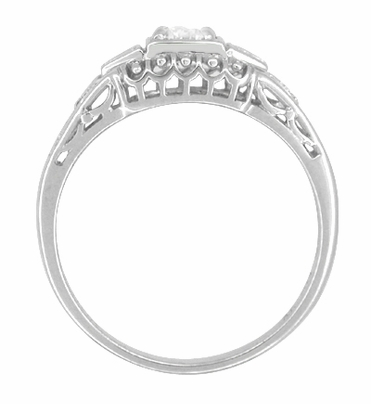 Art Deco White Sapphire Filigree Promise Ring in Sterling Silver - Item SSR228WS - Image 2