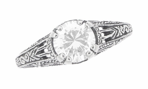 Art Deco White Topaz Filigree Engraved Engagement Ring in Sterling Silver - Item SSR2WT - Image 4
