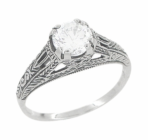 Art Deco White Topaz Filigree Engraved Engagement Ring in Sterling Silver - Item SSR2WT - Image 1