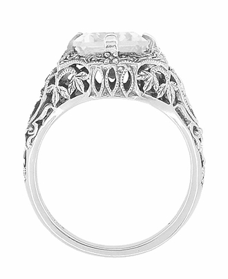Art Deco White Topaz Filigree Ring in Sterling Silver - Item SSR16WT - Image 1