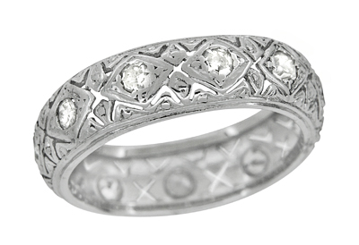 Art Deco Knollwood Wide Diamond Antique Wedding Band in Platinum - Size 6