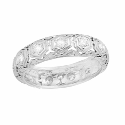 Art Deco Winstead Platinum and Diamond Antique Filigree Wedding Band - Size 5 3/4