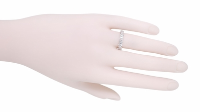Art Deco X Kisses Vintage Diamond Wedding Band in 18 Karat White Gold - Size 6 1/4 - Item R1095 - Image 1
