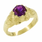 Art Nouveau Lady Amethyst Ring in 14 Karat Yellow Gold | Vintage Replica Circa 1910