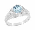 Art Nouveau Aquamarine Lady Ring in 14 Karat White Gold