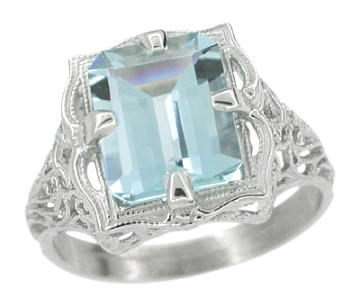 Art Nouveau Filigree Emerald Cut Aquamarine Ring in 14 Karat White Gold