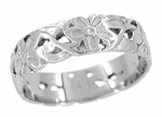 Art Nouveau Flowers and Leaves Wedding Ring in 14 Karat White Gold