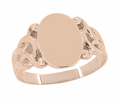 Art Nouveau Oval Signet Ring in 14 Karat Rose ( Pink ) Gold