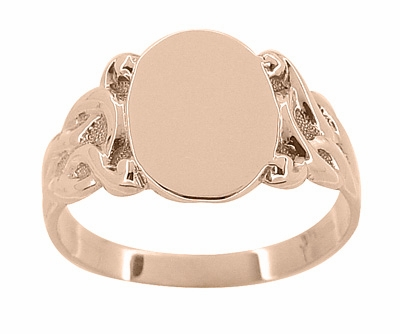 Art Nouveau Oval Signet Ring in 14 Karat Rose ( Pink ) Gold - Item R878R - Image 1