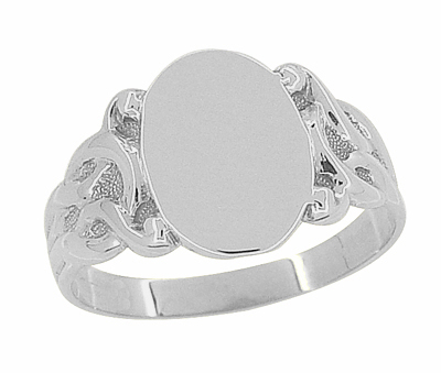 Art Nouveau Oval Signet Ring in 14 Karat White Gold