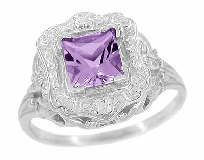 Art Nouveau Princess Cut Amethyst Ring in Sterling Silver - Item SSR615AM - Image 1
