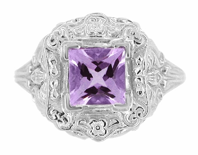 Art Nouveau Princess Cut Amethyst Ring in Sterling Silver - Item SSR615AM - Image 2