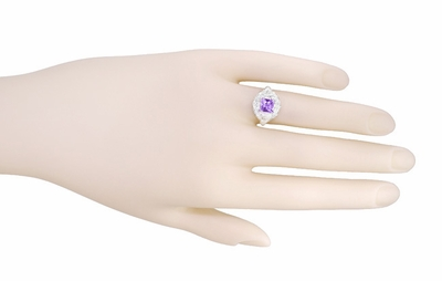Art Nouveau Princess Cut Amethyst Ring in Sterling Silver - Item SSR615AM - Image 5