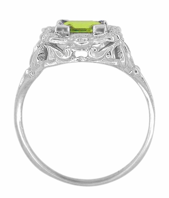 Art Nouveau Princess Cut Peridot Ring in Sterling Silver - Item SSR615PER - Image 3