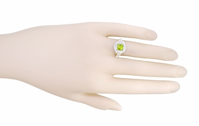 Art Nouveau Princess Cut Peridot Ring in Sterling Silver - Item SSR615PER - Image 5
