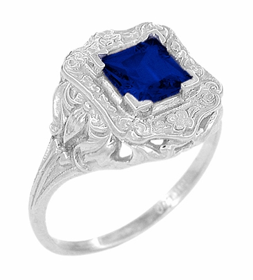 Art Nouveau Princess Cut Sapphire Ring in Sterling Silver - Item SSR615S - Image 1