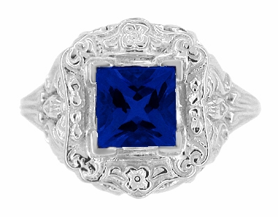 Art Nouveau Princess Cut Sapphire Ring in Sterling Silver - Item SSR615S - Image 4