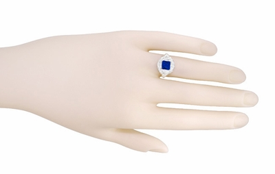 Art Nouveau Princess Cut Sapphire Ring in Sterling Silver - Item SSR615S - Image 5
